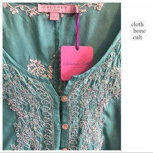 ✨NWT✨CALYPSO ST. BARTH Embroidered Silk TUNIC TOP